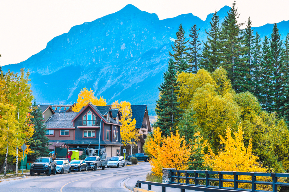 The streets of Canmore in canadian Rocky Mountains